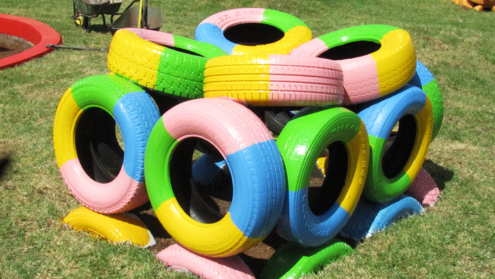 Completed tyre-obstacle