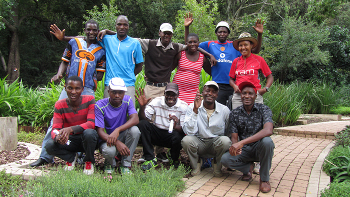 Our team in a more relaxed setting - learning about plants at the Walter Sisulu botanical gardens